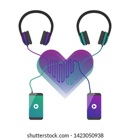 Design concept that demonstrate same music taste by couple in love. Two phones playing music and connected to headphones. Cord forms heart. Applicable for phones or headphones advertisement on banners