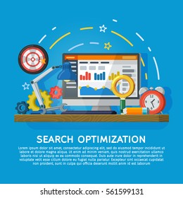 Design concept for website promotion banner in flat style. Website development, search engine optimization. Web analytics elements and marketing. Workplace expert in SEO. Vector illustration