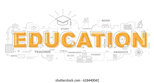 Design Concept Of Word EDUCATION Website Banner.