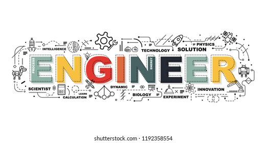Design Concept Of Word ENGINEER Website Banner.