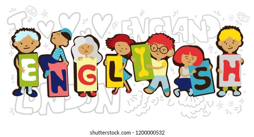 Design Concept Of Word ENGLISH Website Banner. Cartoon kids holding letters ENGLISH in one line. Vector cartoon illustration with kids and learning English concept isolated