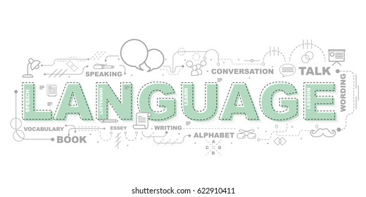 Design Concept Of Word LANGUAGE Website Banner.
