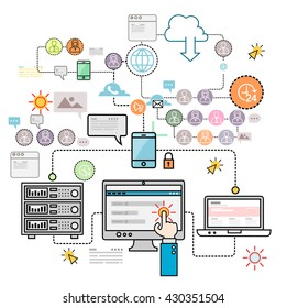 Design concepts for data architecture, big technology, database, mobile cloud computing, cloud platform and solutions vector