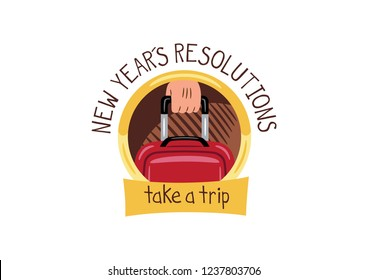 "Design consisting of a vector illustration of an a hand carrying a suitcase, with a text that says: ""New year´s resolutions"", ""take a trip"""