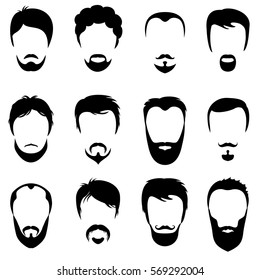 Design constructor with men vector silhouette shapes of haircuts. Fashion black beard and mustache illustration.