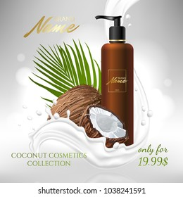 Design cosmetics product advertising for catalog, magazine. Mock up of cosmetic package. Moisturizing cream, gel, milk body lotion with coconut oil.