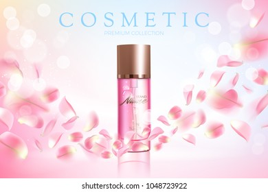 Design cosmetics product advertising for catalog, magazine. Vector design of cosmetic package. Perfume advertising poster.Moisturizing toner, cream, gel, body lotion with rose extract .