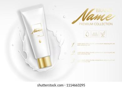 Design cosmetics product advertising for catalog, magazine. Mock up of cosmetic package. Moisturizing cream, gel, milk body lotion with milk. Milk splash