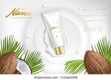 Design cosmetics product advertising for catalog, magazine. Mock up of cosmetic package. Moisturizing cream, gel, milk body lotion with coconut oil or milk.