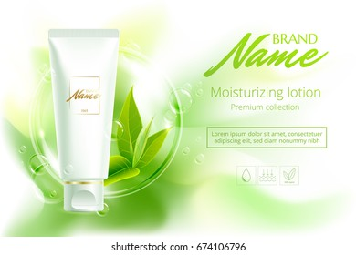 Design cosmetics product advertising for catalog, magazine. Vector design of cosmetic package.Moisturizing cream, gel, body lotion with green tea extract . Vector illustration with isolated objects