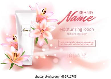 Design cosmetics product advertising for catalog, magazine.Vector design of cosmetic package. Perfume advertising poster. Vector illustration with isolated objects