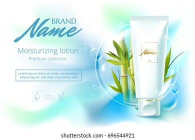 Design cosmetics product advertising for catalog, magazine. Vector design of cosmetic package.Moisturizing cream, gel, body lotion with bamboo. Vector illustration with isolated objects