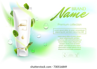 Design cosmetics product advertising for catalog, magazine. Advertising poster cosmetics shampoo, lotion, shower gel with extract or mint flavor.