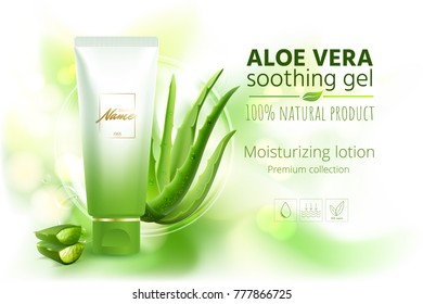 Design cosmetics product advertising for catalog, magazine.  Vector design of cosmetic package.Moisturizing cream, gel, body lotion with aloe vera extract . Vector illustration with isolated objects
