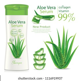 Design cosmetics product advertising cosmetic package.shampoo,cream, gel, body lotion with aloe vera extract.