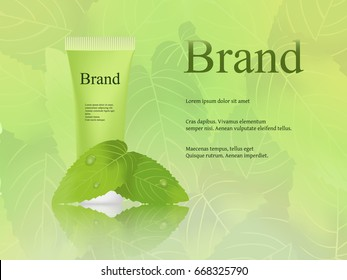 The design of cosmetics, skin cream, light, fresh green background with mint leaves. Advertising, brand, banner. 3D vector realistic
