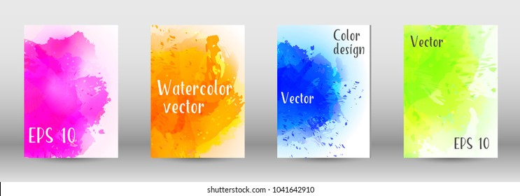 Design cover with a picture of watercolor spray. A set of rectangular objects for the design of a cover, a poster, a banner, a notebook, an album. Vector. EPS 10.