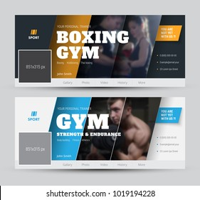 design of the cover for social networks with diagonal lines and photos. Vector black and white template banner with orange and blue elements, and ribbon. Sports sample