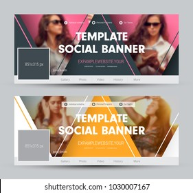 Design of a cover for social networks with triangular elements and a place for a photo. Vector banner template. Set