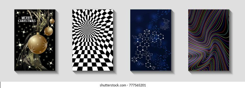 The Design of Covers for Brochures. Colorful Geometric Templates with Shadow. Vector Illustration