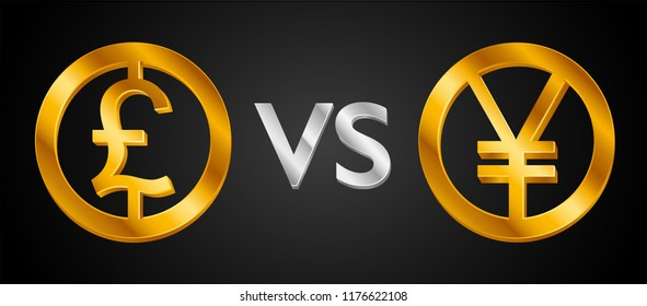 Design creative concept Great British Pound Sterling sign (Sterling coin icon)  VS Japanese yen sign (Yen coin). GBP currency versus  JPY icon. Isolated vector golden Coins idea, web market currencies