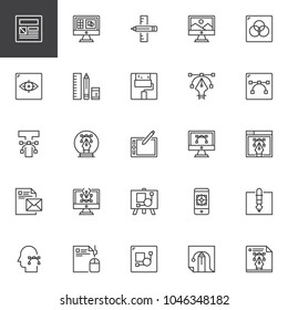 Design and Creative outline icons set. linear style symbols collection, line signs pack. vector graphics. Set includes icons as Layout, Designing, Graphic tablet, Computer art, Paint, artboard