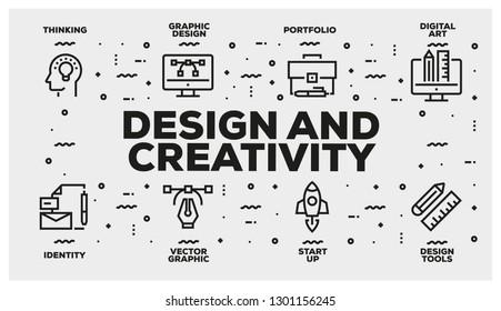 DESIGN AND CREATIVITY LINE ICON SET