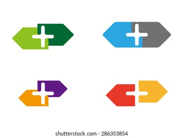 Design cross element. Vector arrows icon template. You can use in energy, machine, religion and medical concept of pattern.