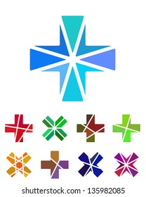 Design cross logo element. Crushing abstract pattern. Colorful x logotype, icons set.