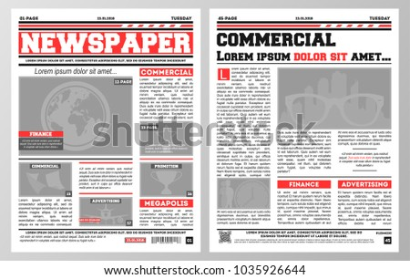 design daily newspaper template two pages stock vector royalty free