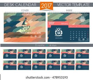 Design Desk Calendar 2017. Vector Templates all months