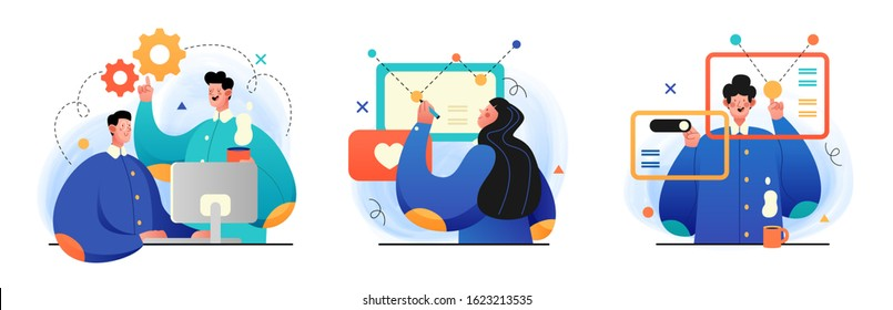 Design and Development illustrations. Collection of concept illustrations with Programmers and designers working in a company office. Perfect for web design, banner, mobile app, landing page.