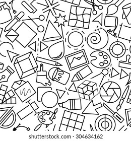Design and Development Seamless Outline Icon Pattern