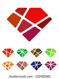 Design diamond logo element. Crushing abstract pattern. Colorful precious stone logotype, icons set.