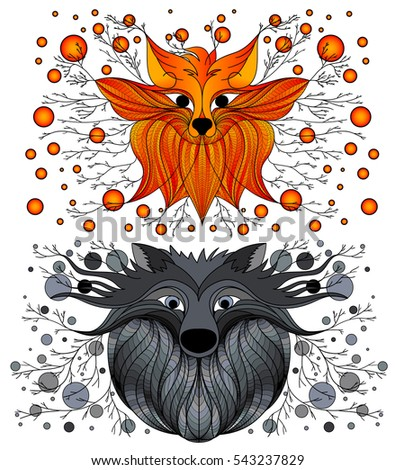 Design Drawing Fox Wolf Fairy Figure Stock Vector Royalty Free