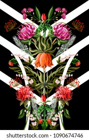 Design for dress with tropical flowers and geometrical form on dark background. Vector illustration.
