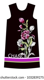 Design dress with tulips flowers drawing in different style graphic and realistic. Trendy fashion vector illustration.