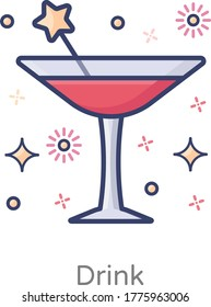 Design of drink vector in editable flat style
