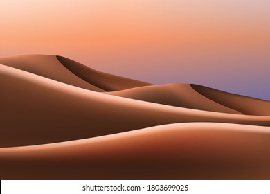 design of dunes and sunset ,desert landscape background illustrarion