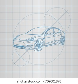 The design of a electric car drawing on a blueprint vector illustration.