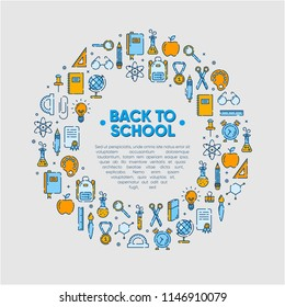 Design element of Back to school icons outline set, icons of school supplies. Welcome back to school badge. Learning and education. Vector illustration, eps 10.