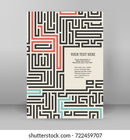 Design element background with maze texture. Gorgeous graphic image template white black tone for book psychology, creative problem solving, logical thinking, IT technology, vector Illustration eps10