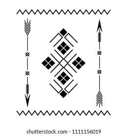 Design element based on American Indian tribal art. For tattoos, logos and other of your creativity. Stock vector.