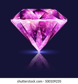 Design Element Bright Glossy Pink Gemstone Ruby