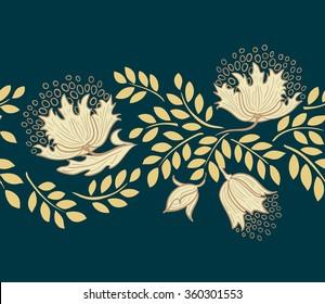 Design element of gold flowers on black background.