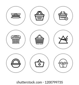Design element icon set. collection of 9 outline design element icons with basket, dispersion icons. editable icons.