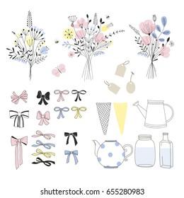 design element to make a floral bouquet, DIY