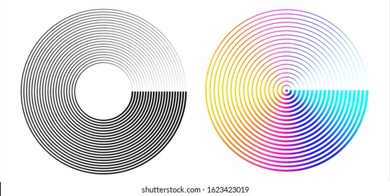 Design element many streak. Isolated bold vector colors & black ring from thin to thick. Radar circle. Symbol monitor airplane . Vector illustration EPS 10 for your tech presentation flyer layout