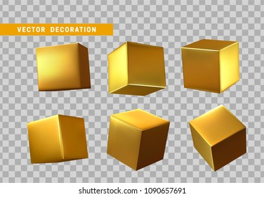Design element set in shape of 3d cubes gold color. Square isolated with transparent background