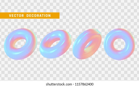 Design element in shape of 3d torus bright neon color. Round ring tor isolated with transparent background